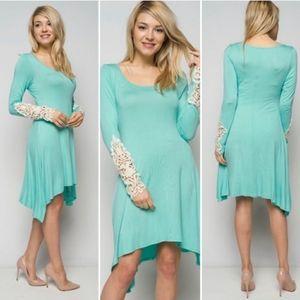 Aqua lace asymmetrical dress